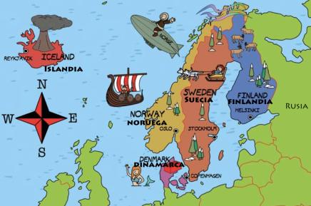 Mapa países nórdicos